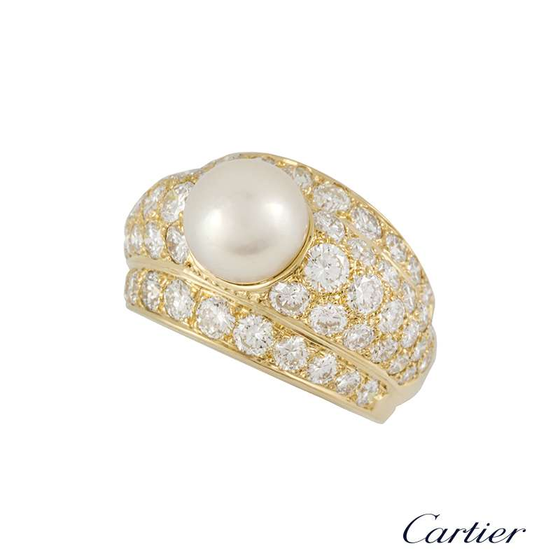 Cartier 18k Yellow Gold Diamond and Pearl Ring 2.20ct